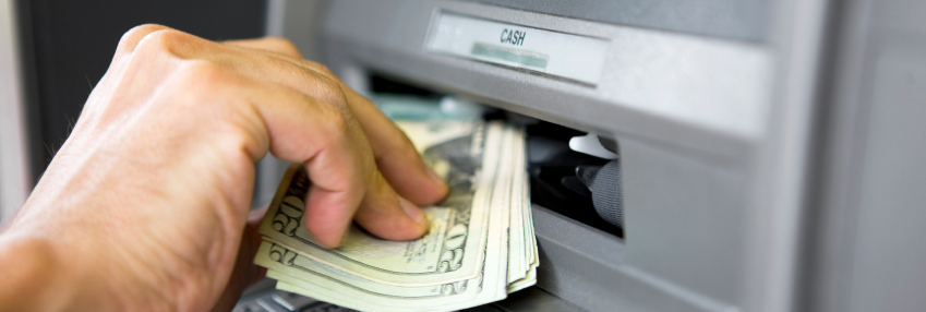 Cash withdraw from ATM machine
